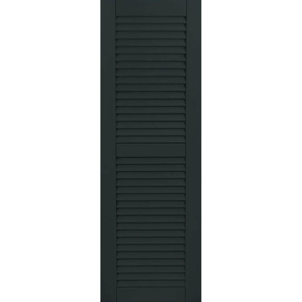 Ekena Millwork 18 in. x 25 in. Exterior Composite Wood Louvered Shutters Pair Dark Green