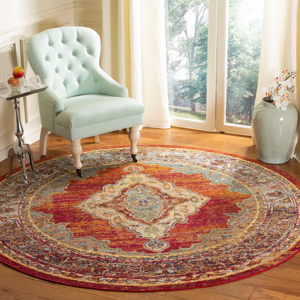 Fine Safavieh Crystal Orange Light Blue 5 Ft X 5 Ft Round Area Rug Cjindustries Chair Design For Home Cjindustriesco