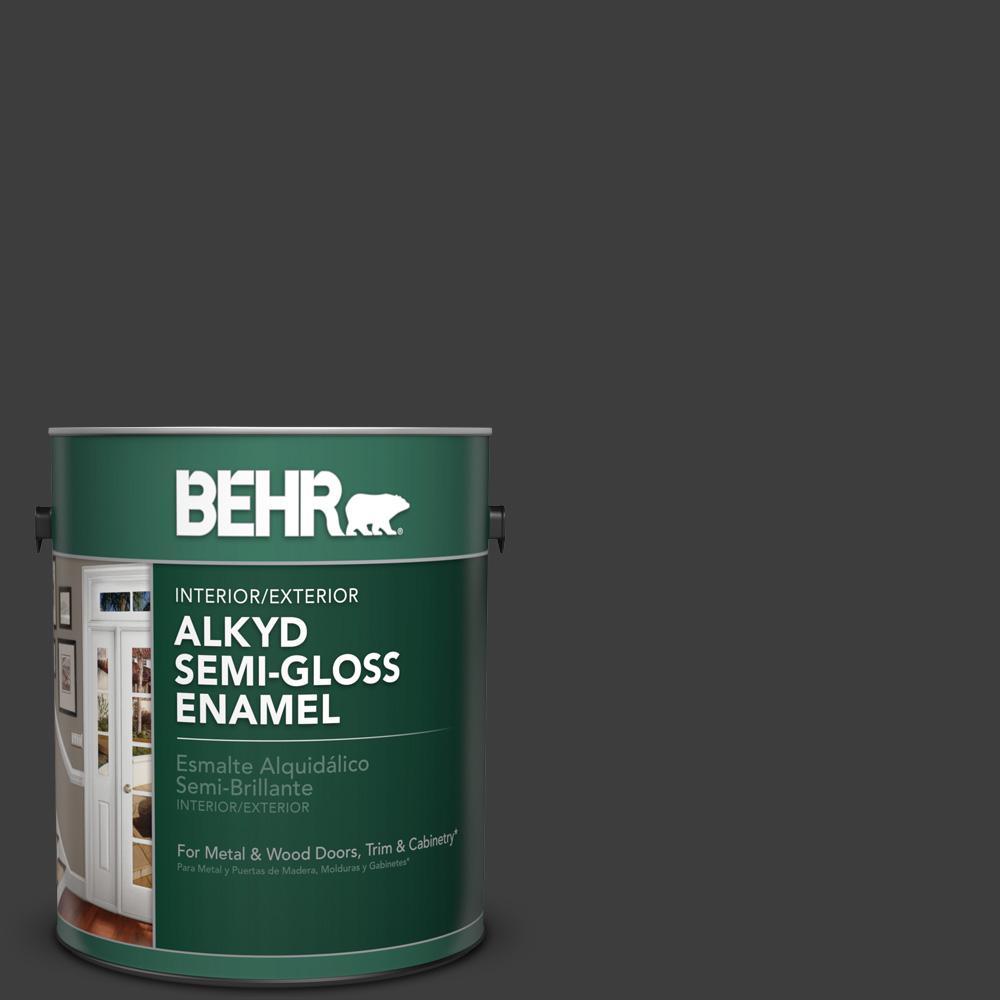 1 gal. #1350 Ultra Pure Black Semi-Gloss Enamel Alkyd Interior/Exterior Paint