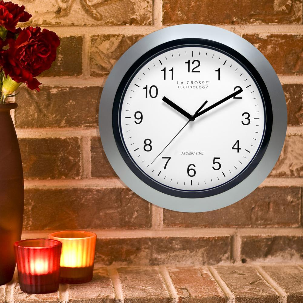 Atomic clock wall clocks wall decor the home depot h round atomic analog wall clock in white amipublicfo Image collections