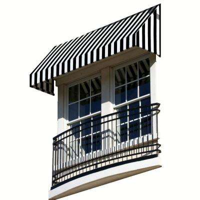 8.38 ft. Wide New Yorker Window/Entry Awning (44 in. H x 48 in. D) Black/White