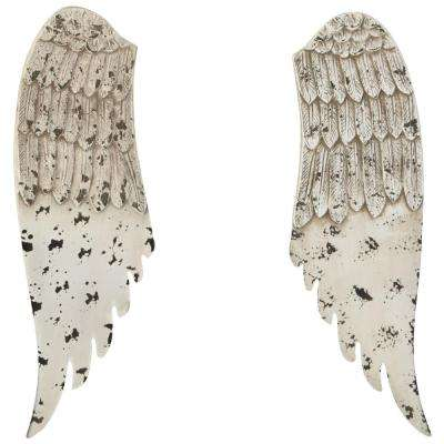 20 in. H x 6.25 in. W Distressed Angel Wings Wall Art (Set of 2)