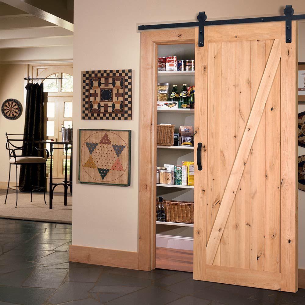 Z-Bar Knotty Alder Interior Barn Door Slab with Sliding Door Hardware Kit