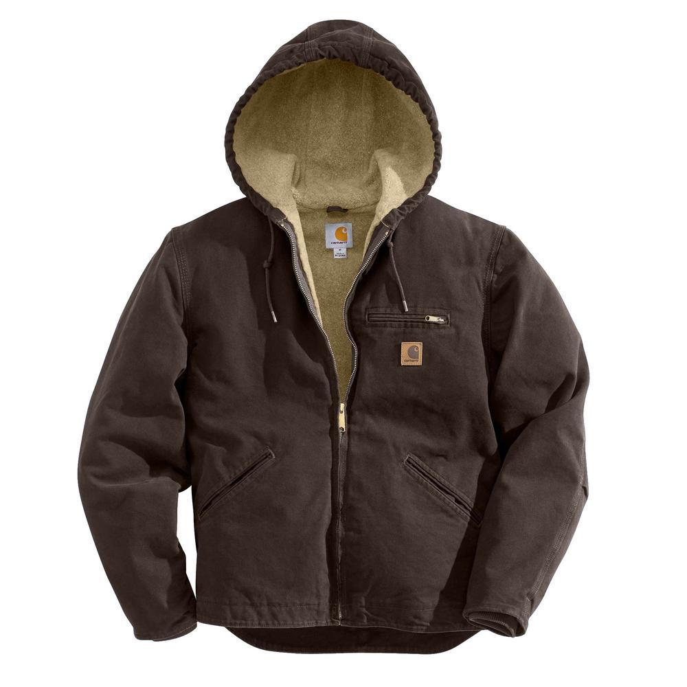 Men's Large Tall Dark Brown Cotton Sierra Jacket Sherpa Lined Sandstone
