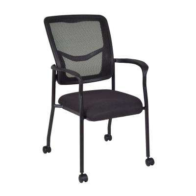 Kiera Black Side Chair with Casters