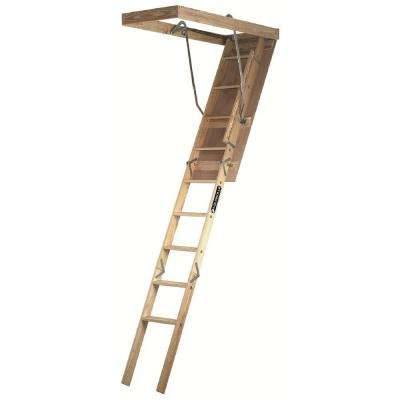 Premium Series 7 ft. - 8 ft. 9 in., 22.5 in x 54 in. Wood Attic Ladder with 250 lb. Maximum Load Capacity