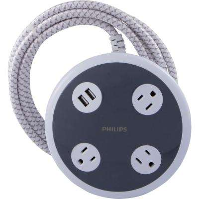 3-Outlet Surge Protector Power Strip with USB Charger 2 USB Ports with 8 ft. Braided Extension Cord