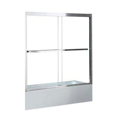 Duxbury 60 in. x 59.06 in. Framed Sliding Door in Chrome with Towel Bar
