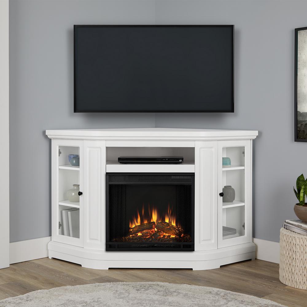 Windom 58 in. Corner Electric Fireplace in White
