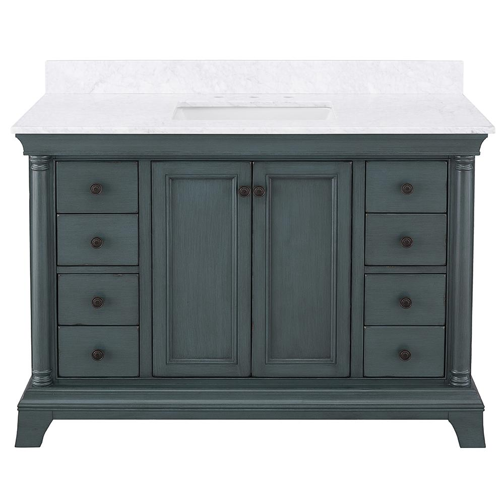 Home Decorators Collection Strousse 49 in. W x 22 in. D Vanity Cabinet in Distessed Blue Fog with Marble Top in Carrara White with White Sink