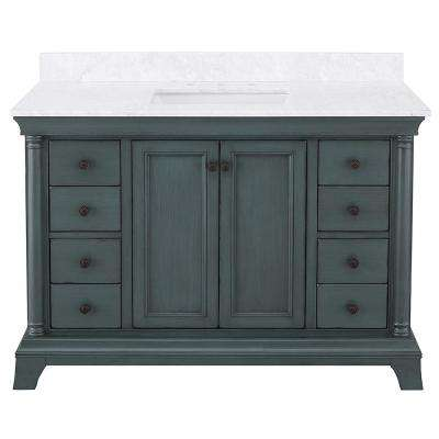 Strousse 49 in. W x 22 in. D Vanity Cabinet in Distessed Blue Fog with Marble Top in Carrara White with White Sink