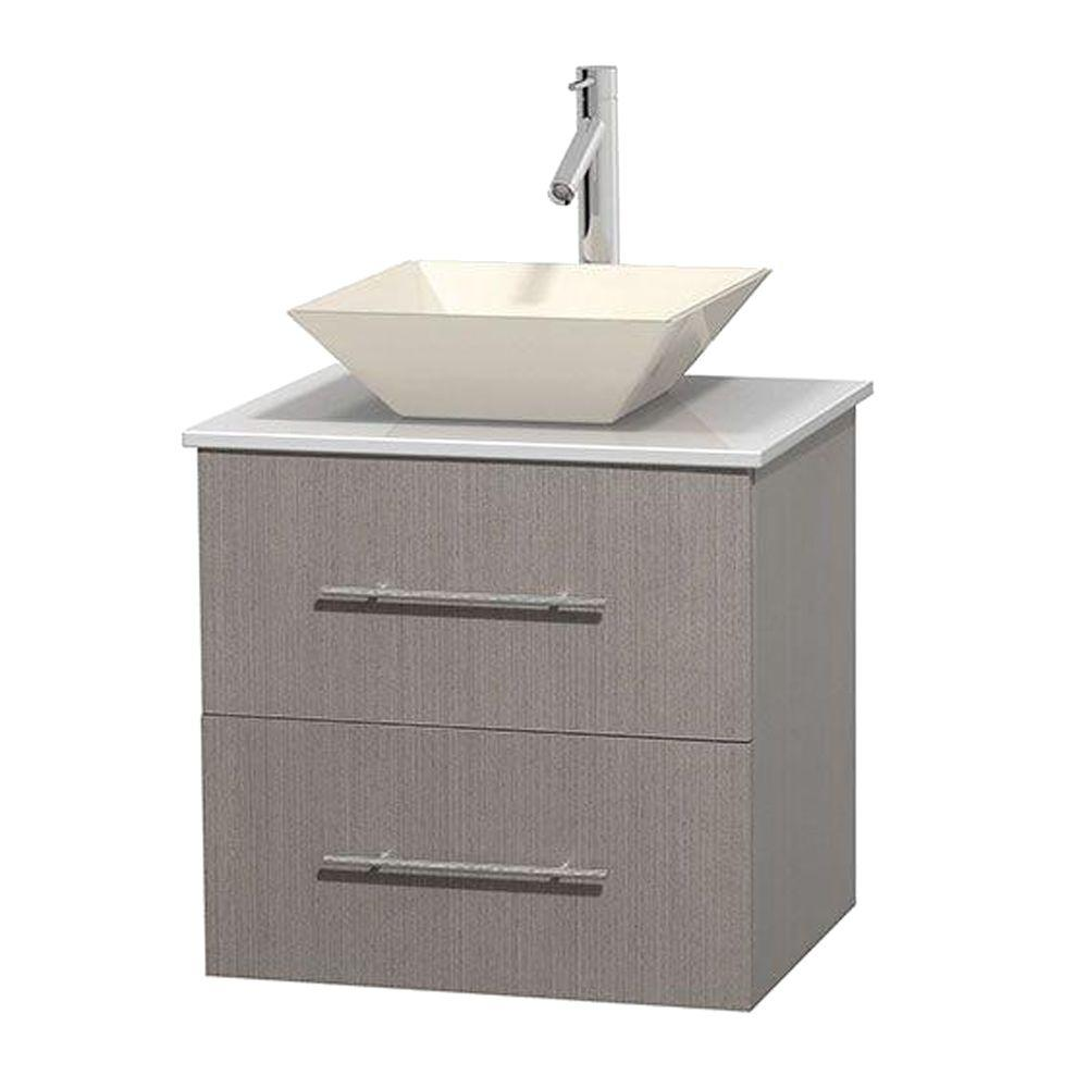 Centra 24 in. Vanity in Gray Oak with Solid-Surface Vanity Top