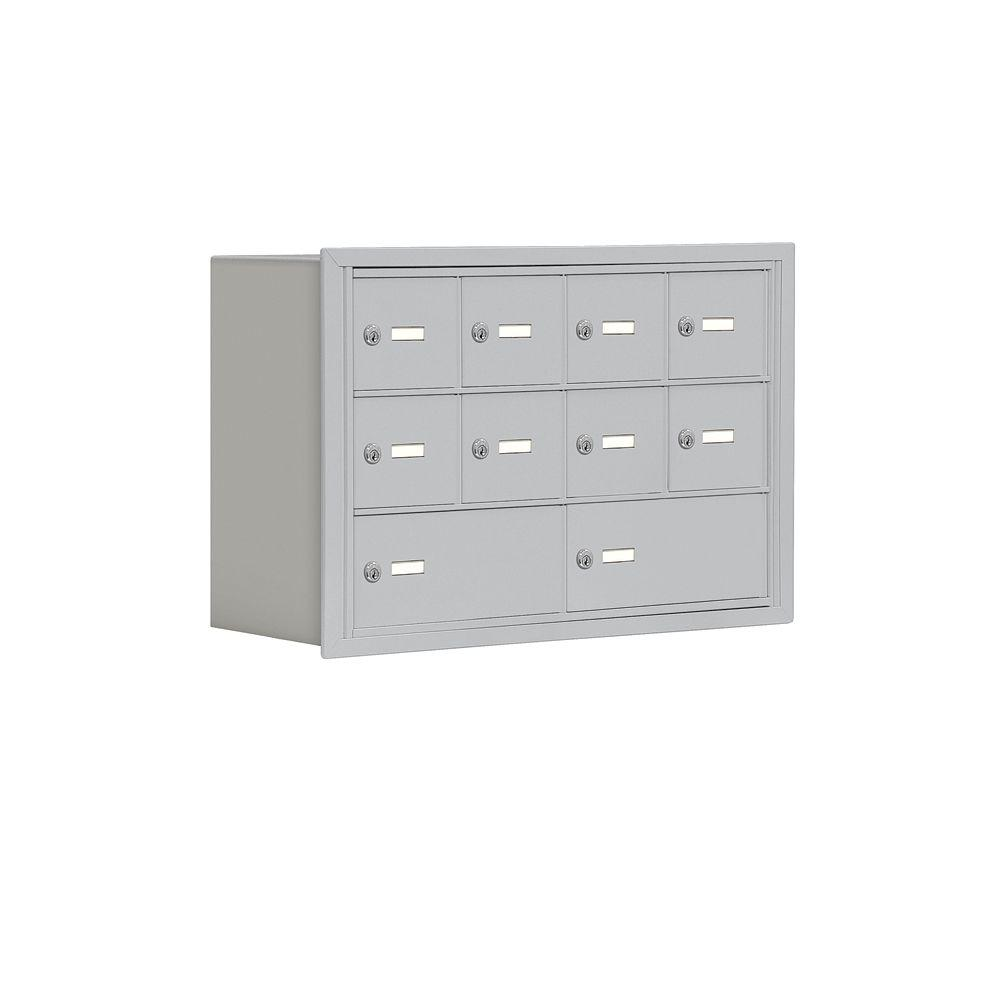 Salsbury Industries 19000 Series 30.5 in. W x 20 in. H x 8.75 in. D 8 A/2 B Doors R-Mount Keyed Locks Cell Phone Locker in Aluminum