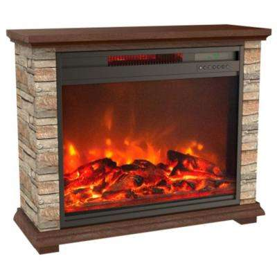 Stone Series 31 in. Freestanding Electric Fireplace with Remote Control in Off White Faux Stone and Walnut Mantel