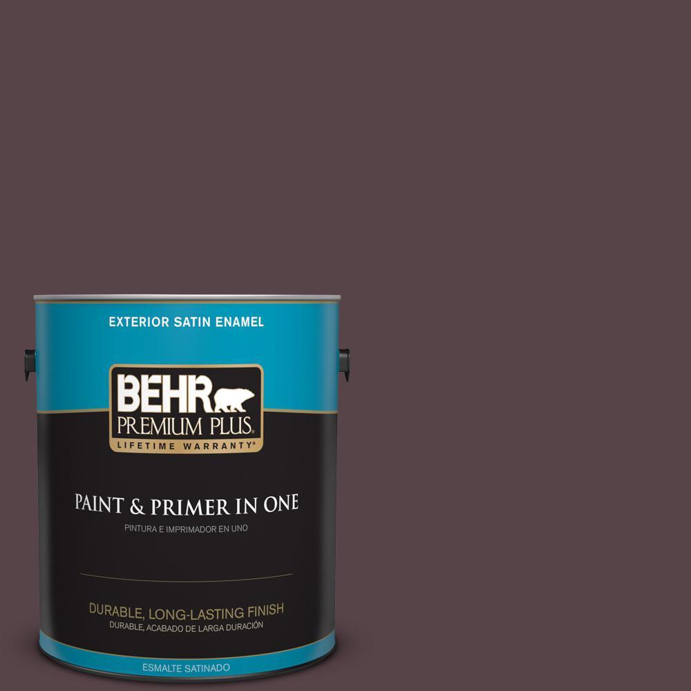 1 gal. #HDC-FL14-9 Black Raspberry Satin Enamel Exterior Paint