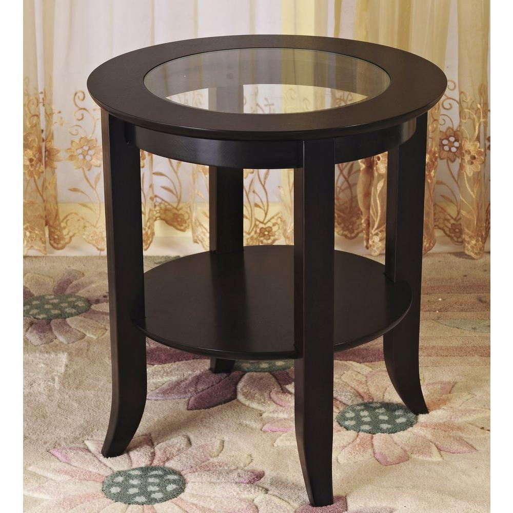 Wood and glass end table - Frenchi Home Furnishing Genoa Espresso End Table