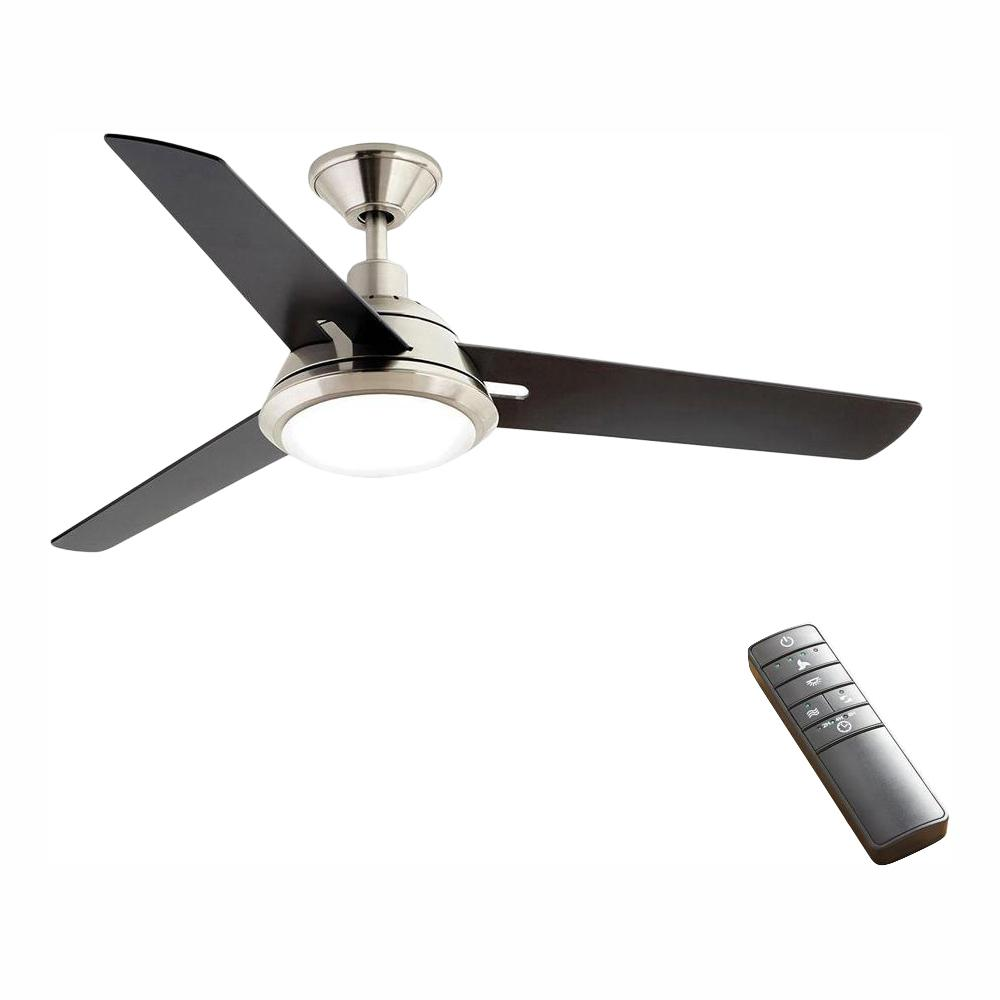 Home Decorators Collection Gardinier 52 In Led Indoor Brushed Nickel Wink Enabled Smart Ceiling Fan With Integrated Light Kit With Remote Control