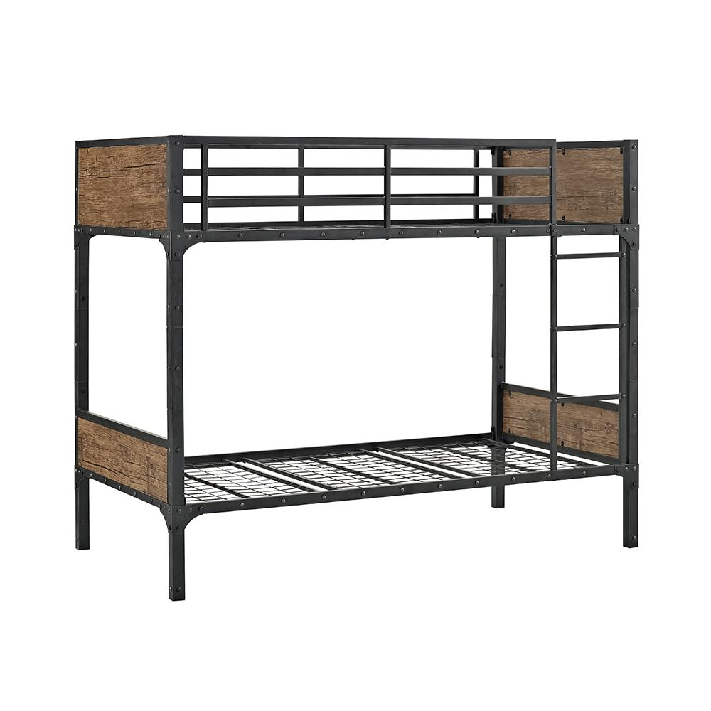 Walker Edison Twin Over Twin Wood Bunk Bed Brown Rustic
