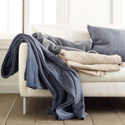 Distressed Navy 100% Cotton Twin Blanket