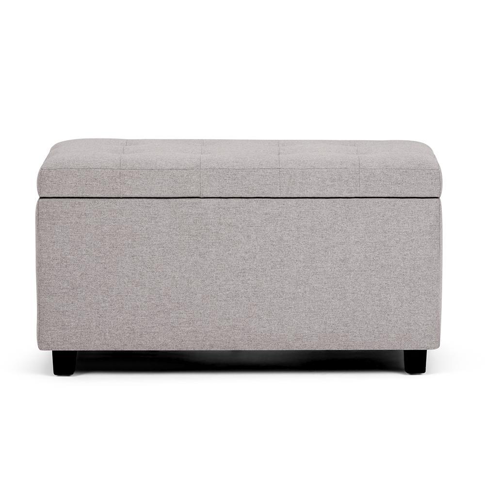 Simpli Home Cosmopolitan 34 in. Contemporary Storage Ottoman in Cloud Grey