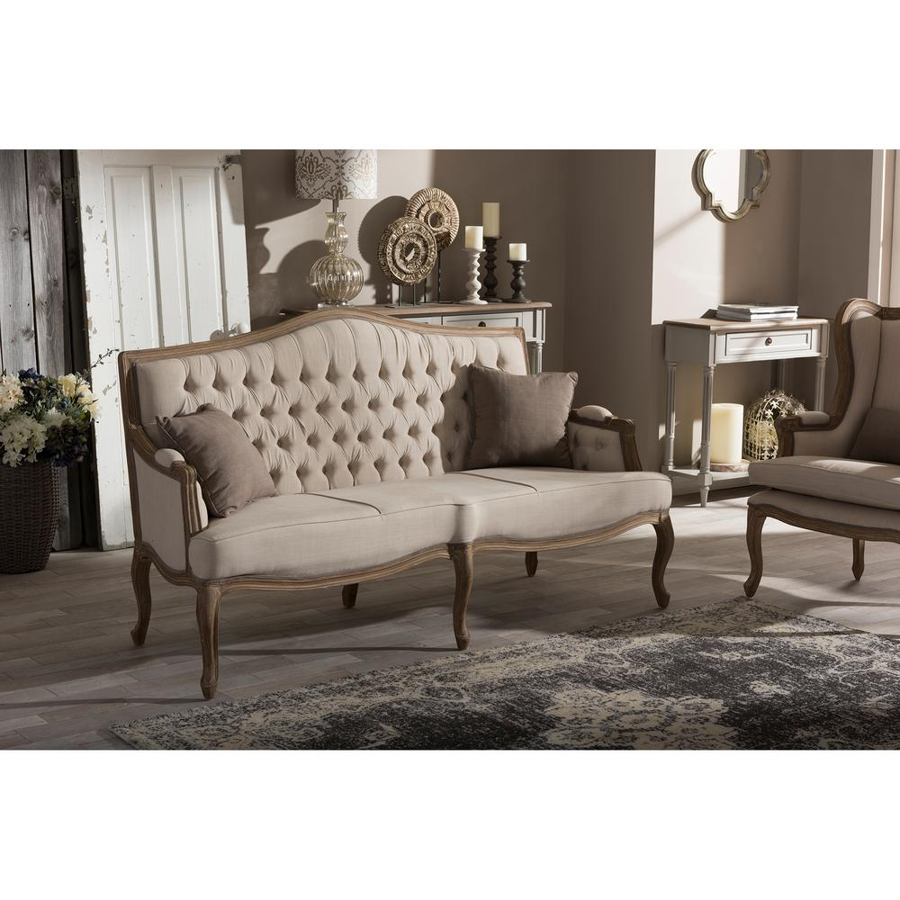 French Inspired Beige Fabric Upholstered Sofa
