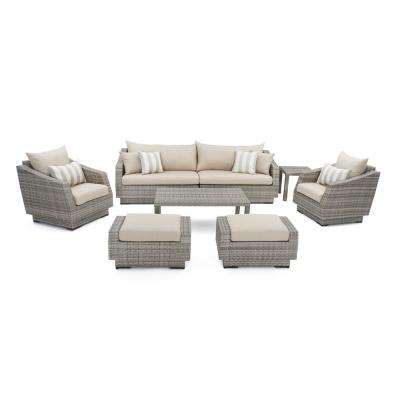 Cannes 8-Piece Patio Seating Set with Slate Grey Cushions