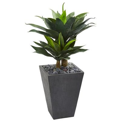 37 in. Double Agave Succulent Artificial Plant in Slate Planter