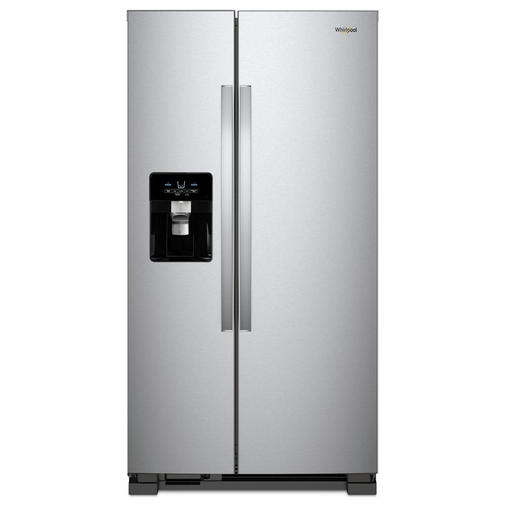 Side by side refrigerator in monochromatic stainless steel