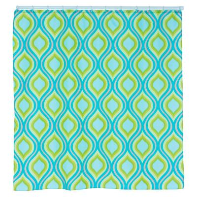 Teardrop 72 in. Printed Shower Curtain in Green