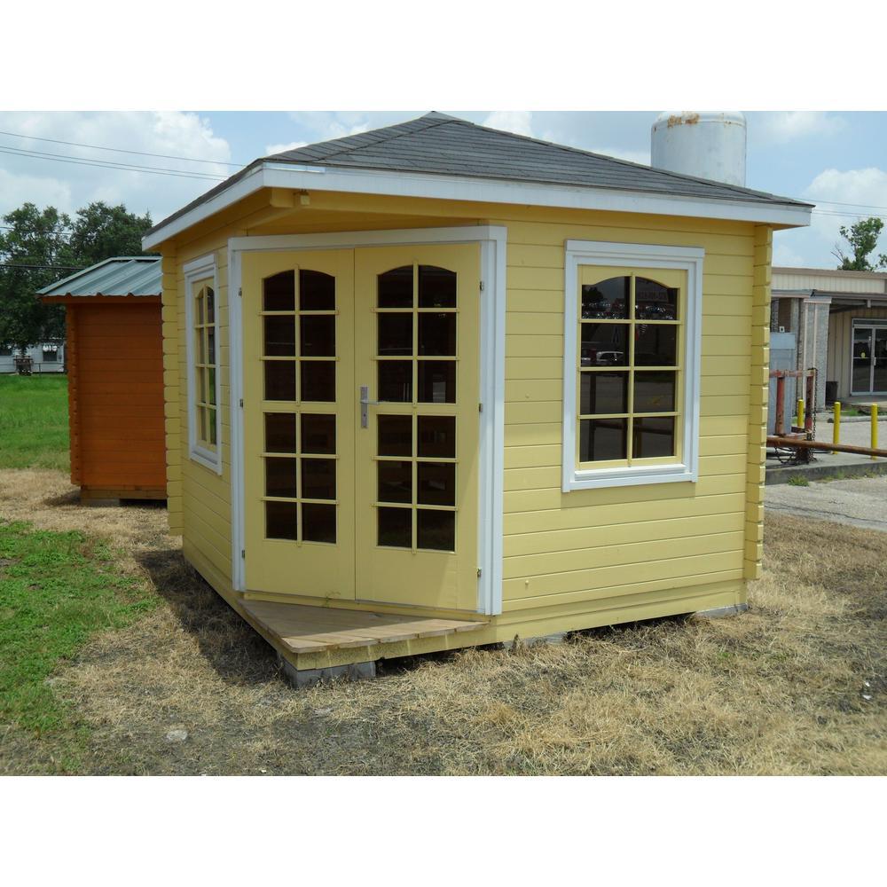 EZ Log Structures Victoria B 28 mm 118 in  x 118 in  x 111 in  Log Garden  House Hobby Recreation Office Storage Building