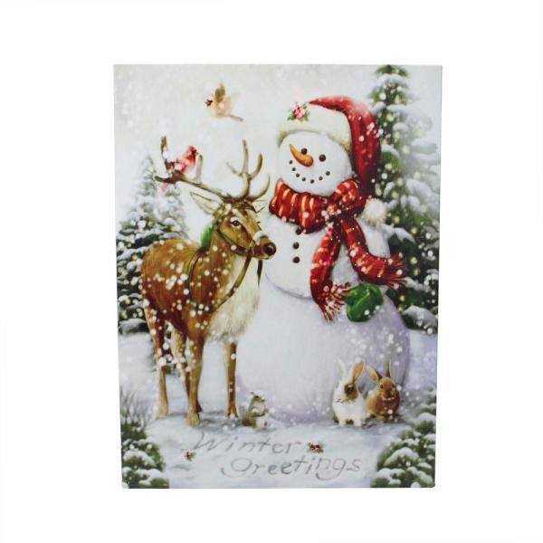 Northlight Led Lighted Snowman And Reindeer Christmas Canvas Wall Art 15 75 X 12 33373100 The Home Depot
