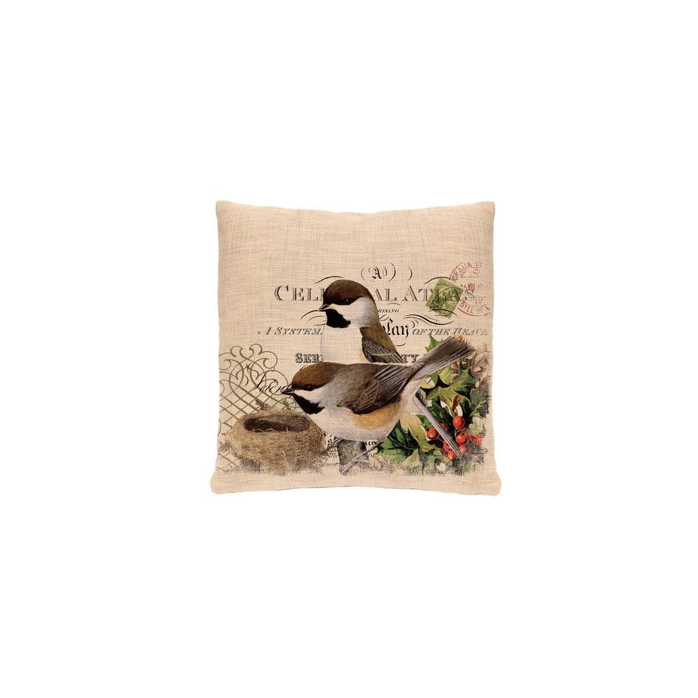 Winter Garden Natural Chickadees Decorative Pillow