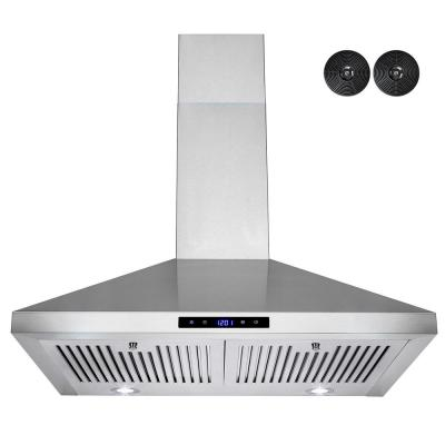 30 in. Convertible Wall Mount Kitchen Range Hood in Stainless Steel with LED Lights and Carbon Filters