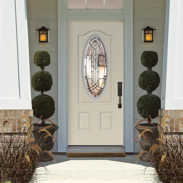Masonite 36 In X 80 In Chatham 3 4 Oval Lite Left Hand Inswing Painted Steel Prehung Front Exterior Door With Brickmold 45319 The Home Depot