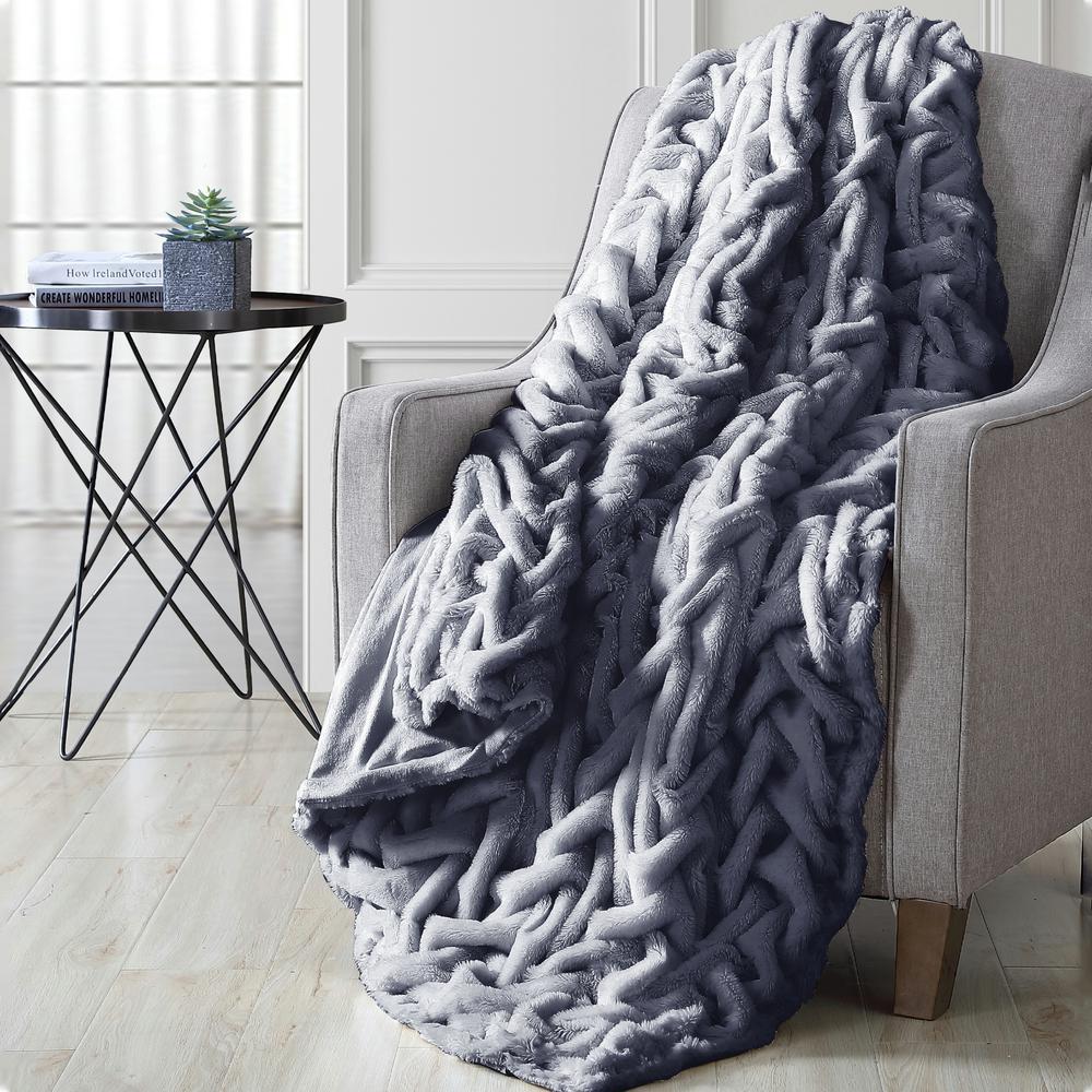 Luxury Solid Braided Faux Fur Throw Gray