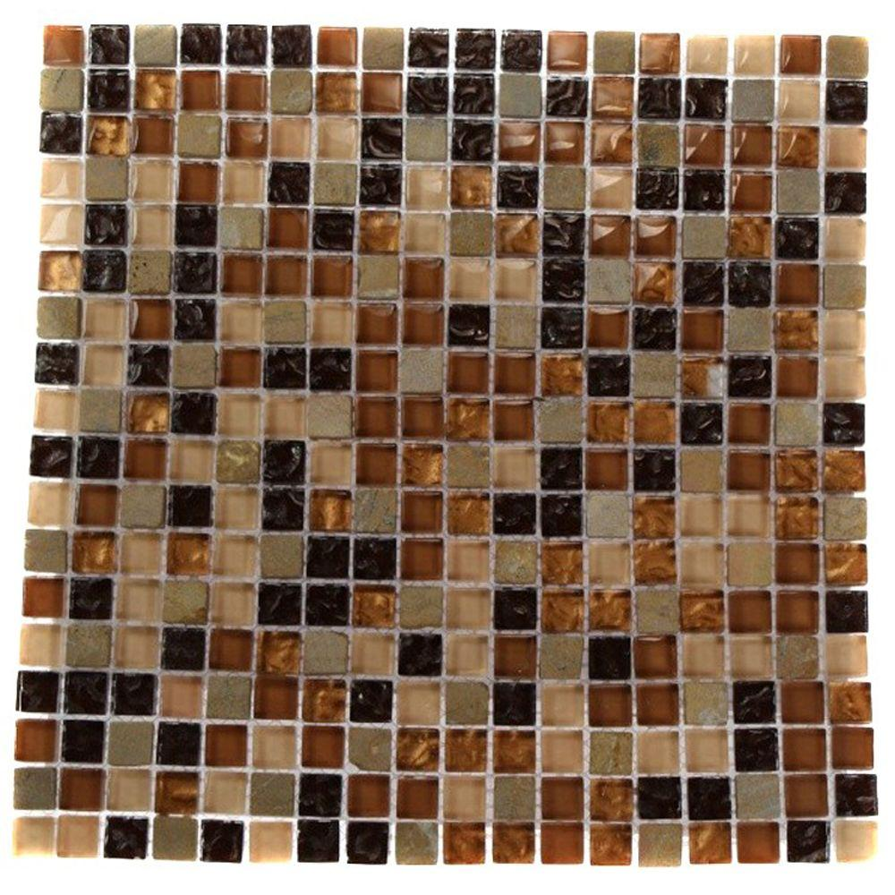 Splashback Tile Golden Trail Blend Squares 12 in. x 12 in. x 8 mm ...