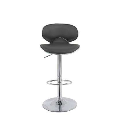 42 in. Dark Grey Adjustable Curved Form Fitting Bar Stool in Bonded Leather (Set of 2)
