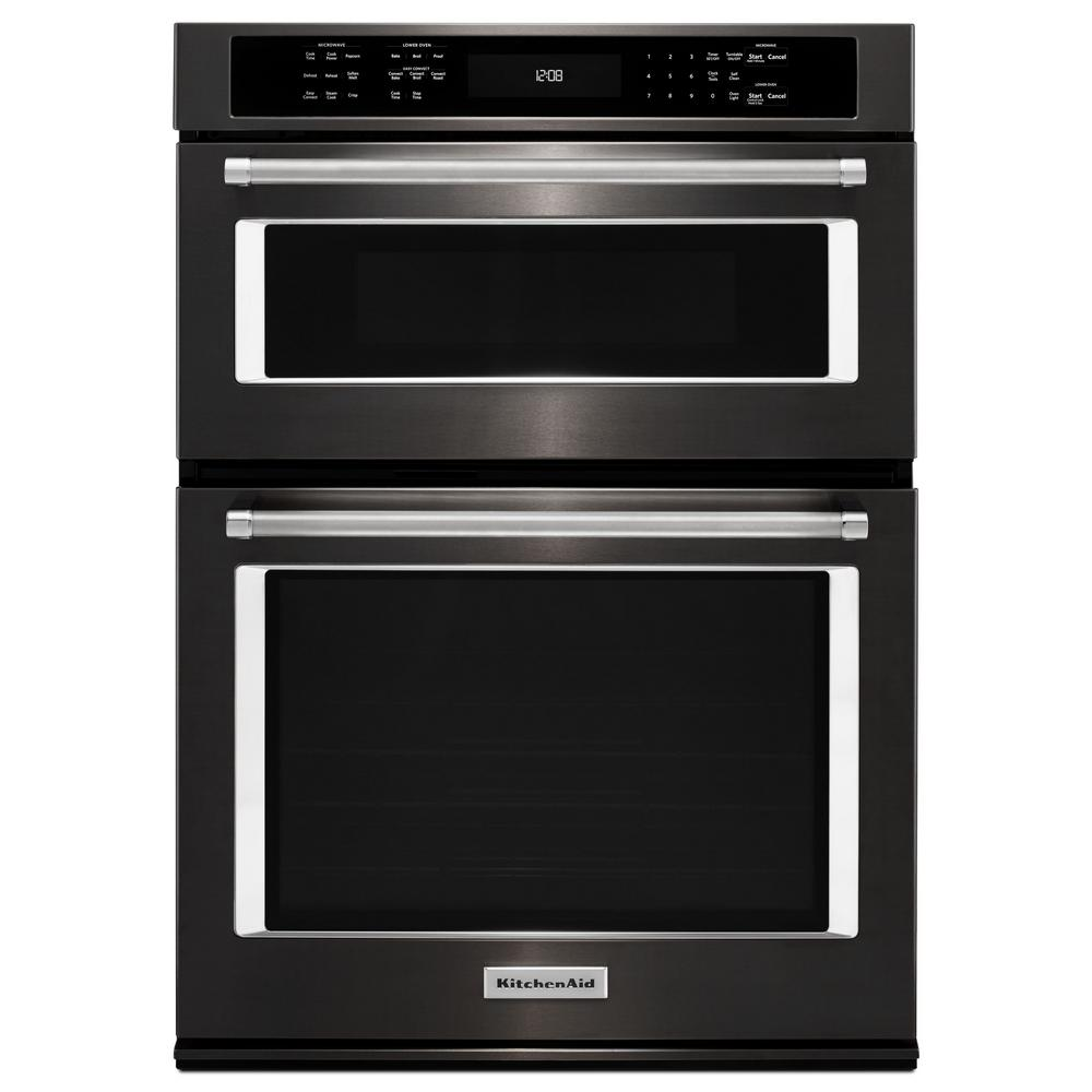 Kitchenaid 27 in electric even heat true convection wall oven with built in microwave in black - Built in microwave home depot ...