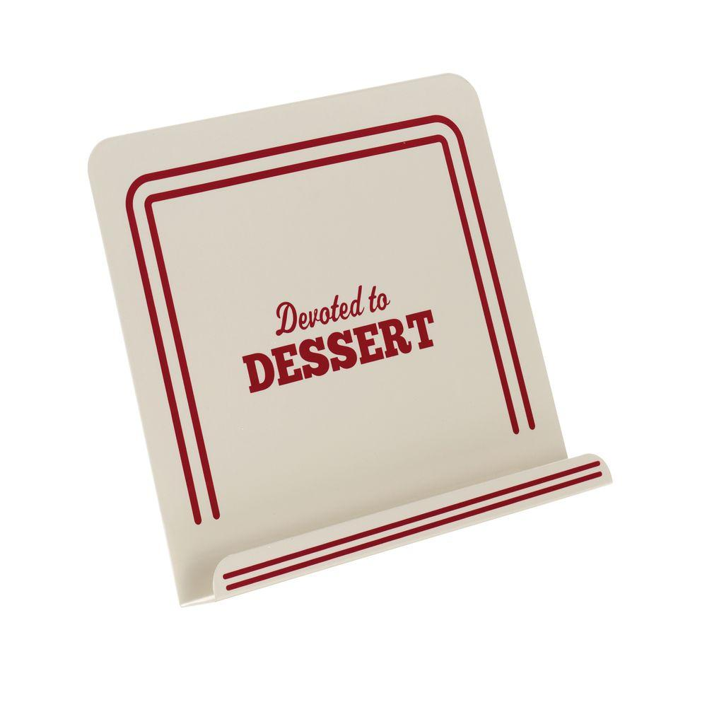 Countertop Accessories Metal Cookbook Stand with Devoted To Dessert in Cream