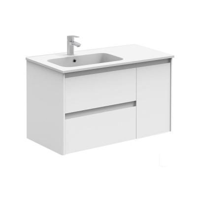 Ambra 35.6 in. W x 18.1 in. D x 22.3 in. H Bathroom Vanity Unit in Gloss White with Vanity Top and Basin in White