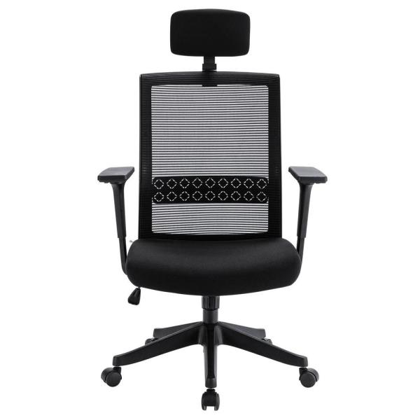 Black Adjustable Headrest Fabric Office Chair with Lumbar Support for Office Workers & Students