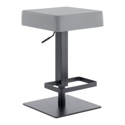 Dwyn Contemporary Adjustable 25-33.5 in. Swivel Barstool in Matte Black Finish and Grey Faux Leather