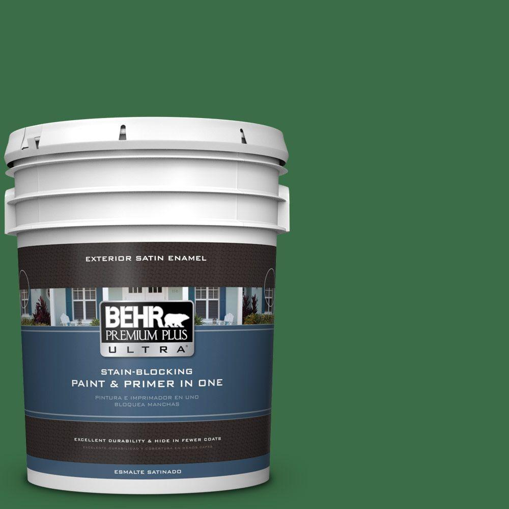 BEHR Premium Plus Ultra 5-gal. #S-H-450 Parsley Sprig Satin Enamel Exterior Paint, Greens