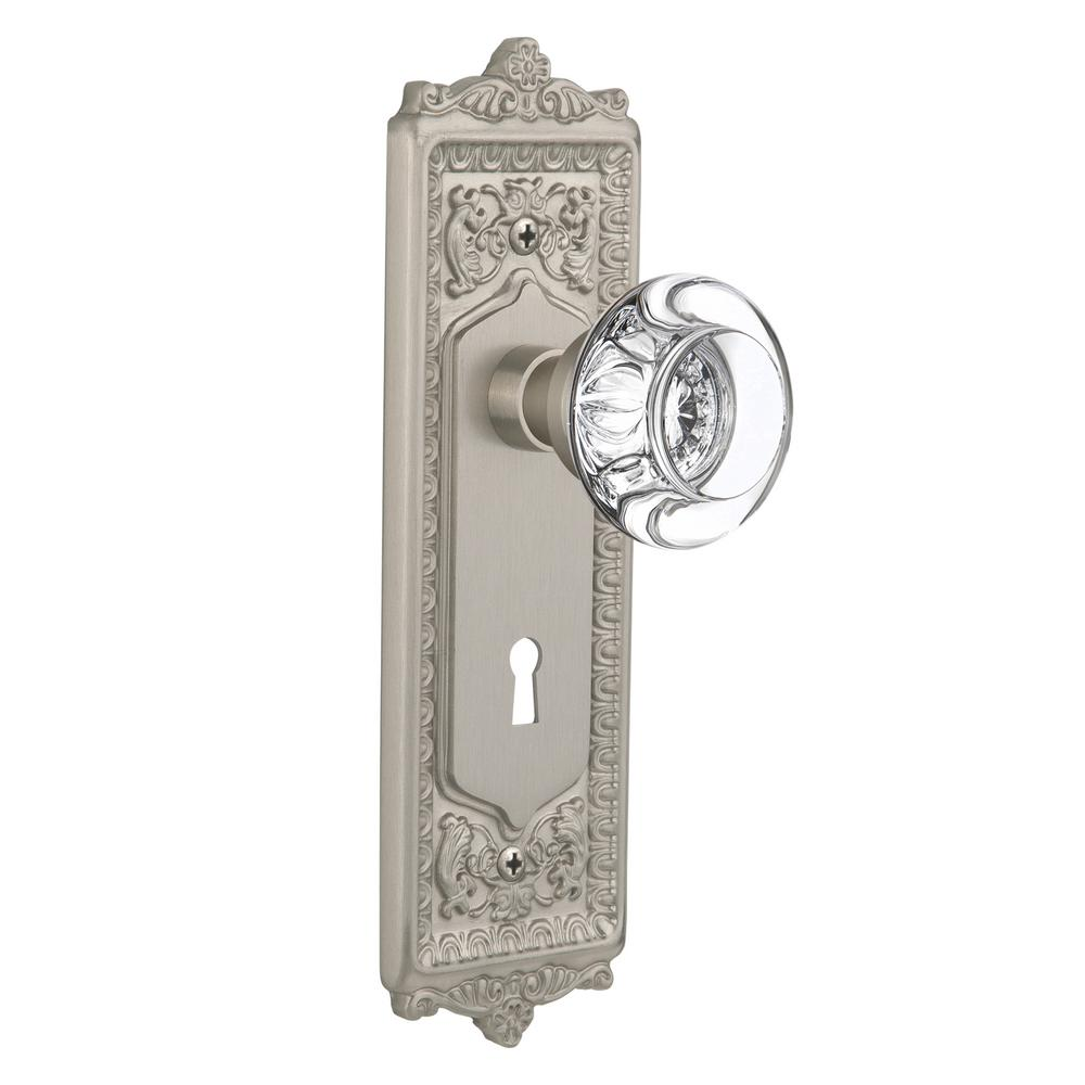 Egg and Dart Plate with Keyhole 2-3/4 in. Backset Satin Nickel Privacy Round Clear Crystal Glass Door Knob