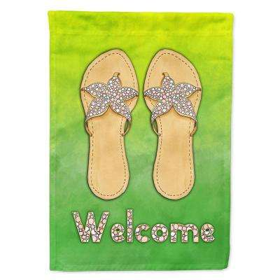 11 in. x 15-1/2 in. Polyester Flip Flops Welcome 2-Sided 2-Ply Garden Flag