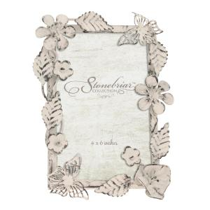 Stonebriar Collection 4 inch x 6 inch Worn White Ornate Floral Metal Picture Frame by Stonebriar Collection