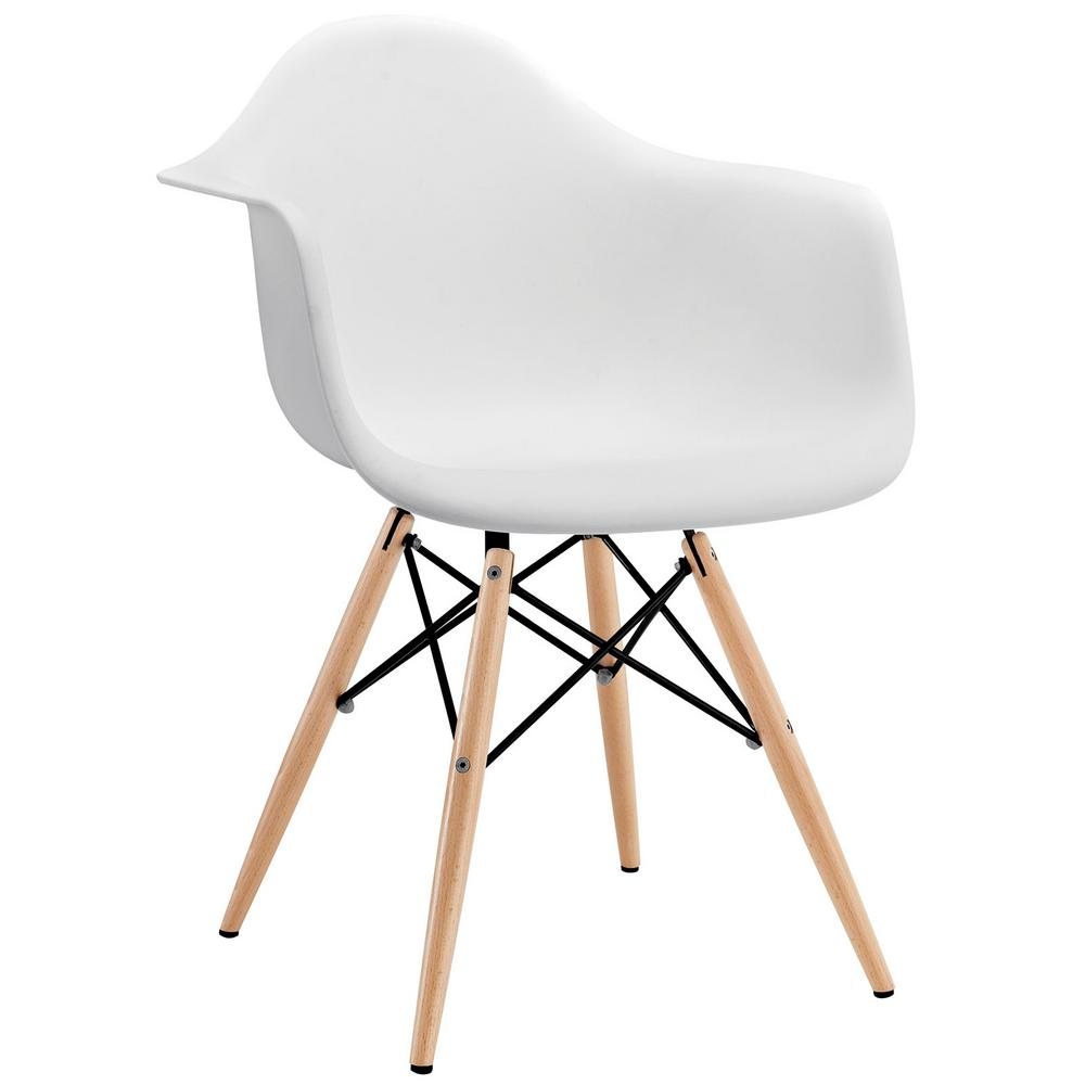 MODWAY Pyramid White Dining Arm Chair