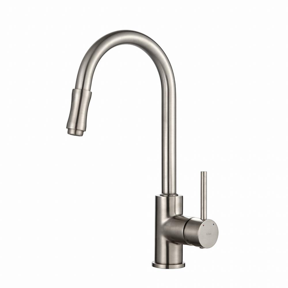 Kraus Single Handle Pull Down Kitchen Faucet In Satin Nickel Kpf