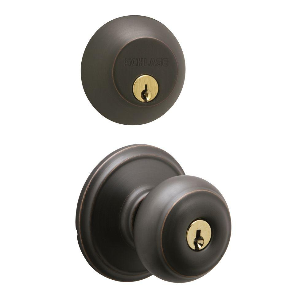 Schlage Georgian Single Cylinder Aged Bronze Knob And