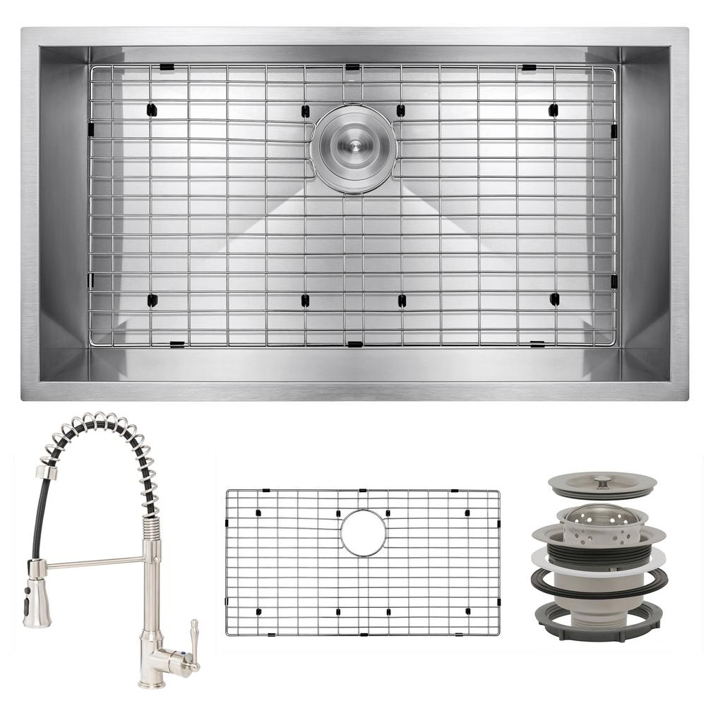 AKDY Handmade All-in-One Undermount Stainless Steel 32 in. x 18 in. Bottom Grid Spring Neck Faucet Single Bowl Kitchen Sink, Brushed Stainless Steel was $468.0 now $299.99 (36.0% off)